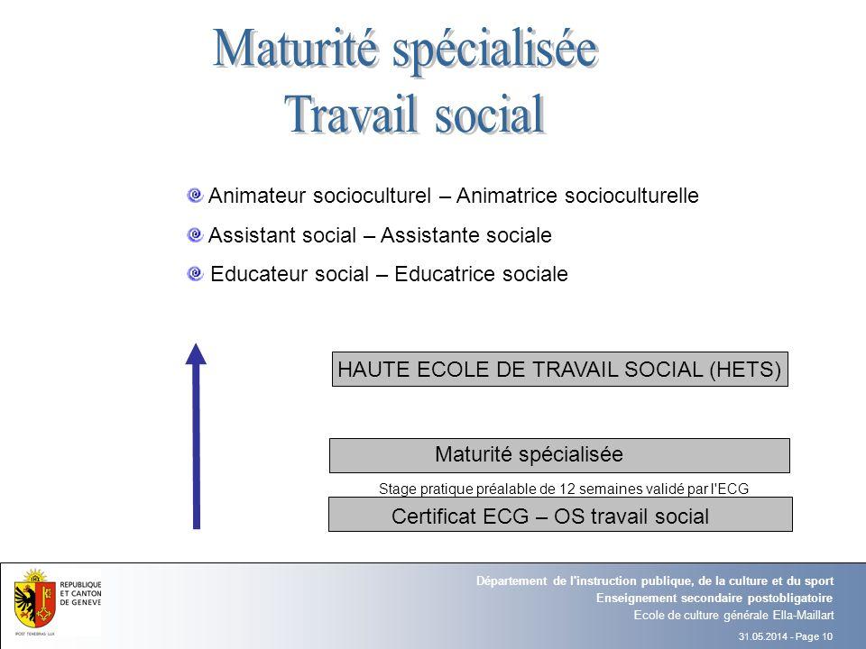 Maturité spécialisée Travail social