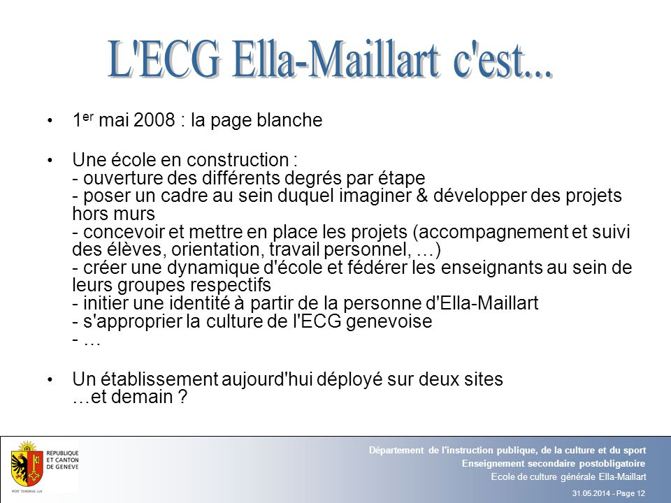 L ECG Ella-Maillart c est...