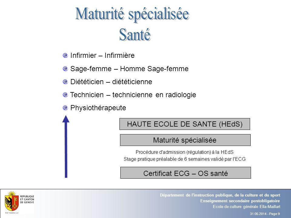Maturité spécialisée Santé Infirmier – Infirmière