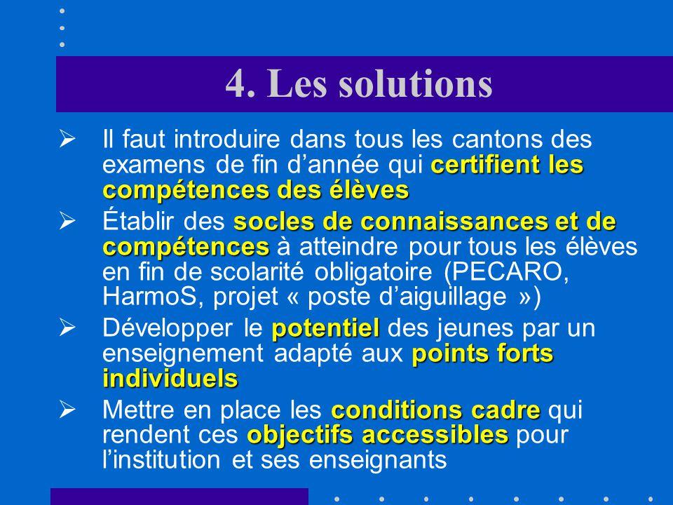 4. Les solutions Il faut introduire dans tous les cantons des examens de fin d'année qui certifient les compétences des élèves.