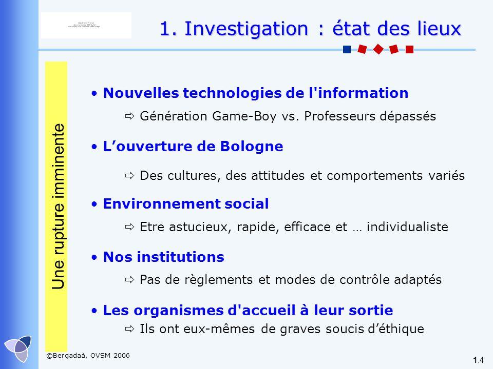 1. Investigation : état des lieux