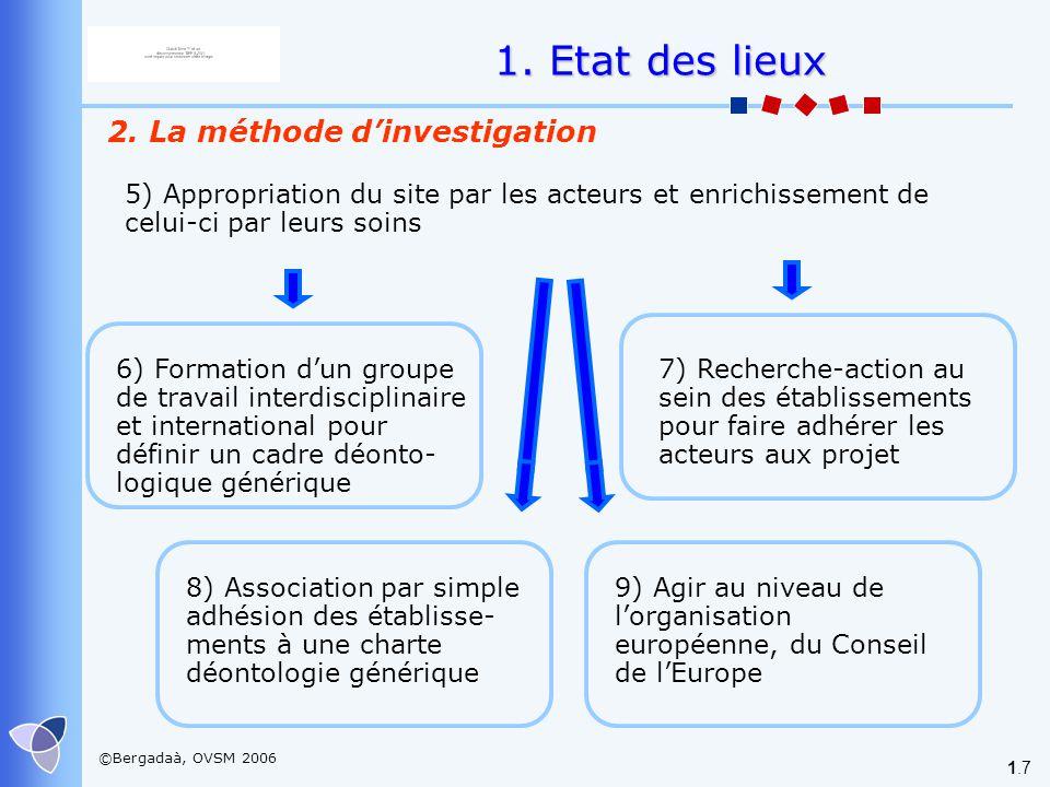 1. Etat des lieux 2. La méthode d'investigation