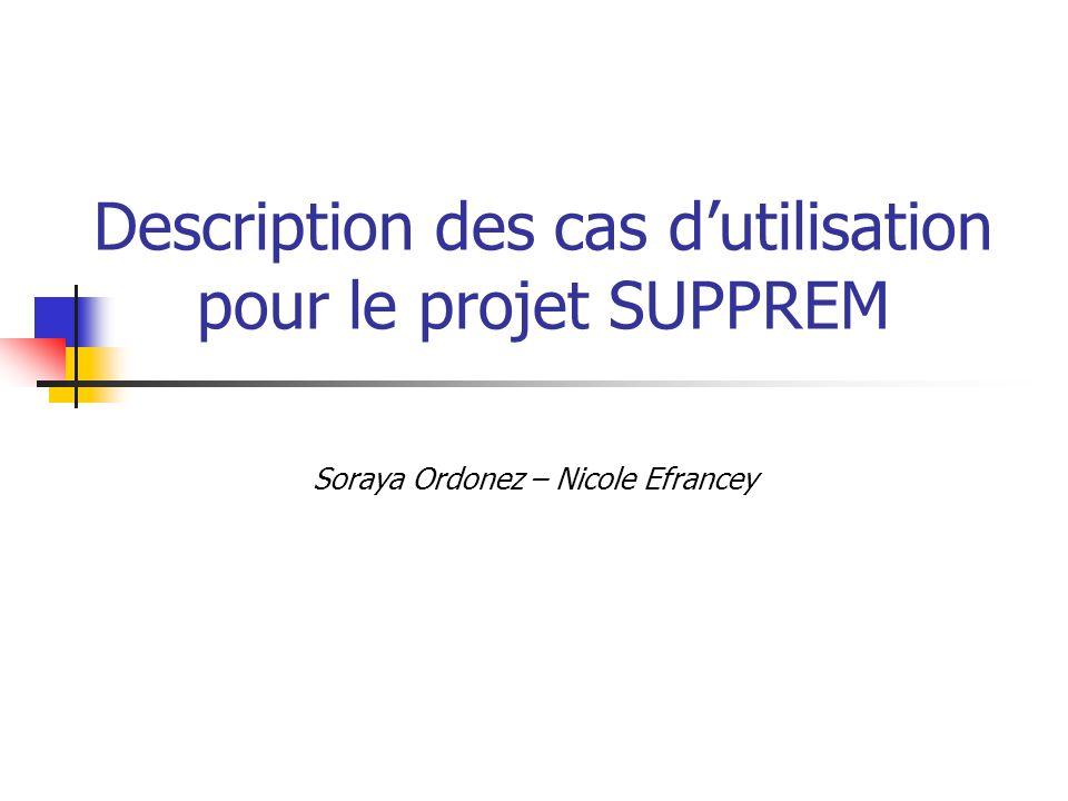 Description des cas d'utilisation pour le projet SUPPREM