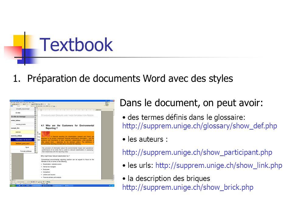 Textbook Préparation de documents Word avec des styles
