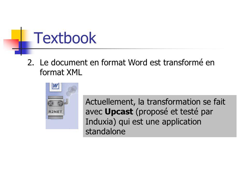 Textbook Le document en format Word est transformé en format XML