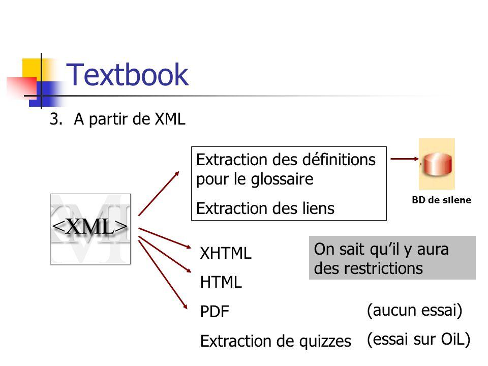 Textbook A partir de XML Extraction des définitions pour le glossaire