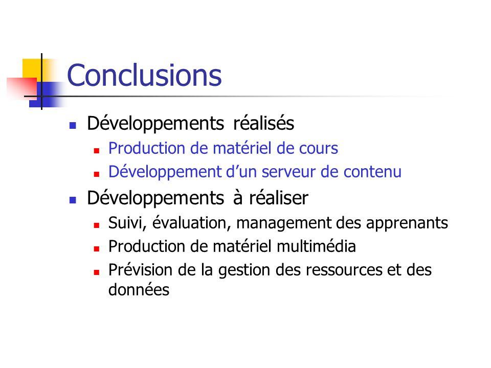 Conclusions Développements réalisés Développements à réaliser