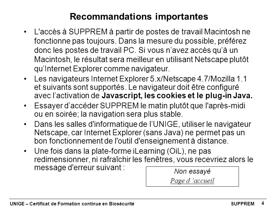 Recommandations importantes