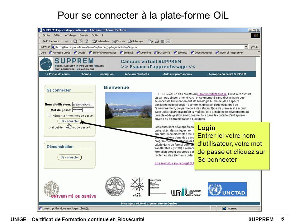 Pour se connecter à la plate-forme OiL