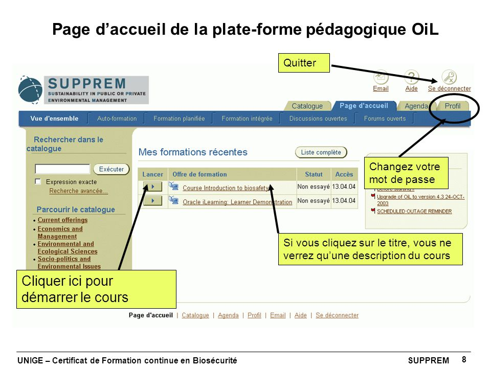 Page d'accueil de la plate-forme pédagogique OiL