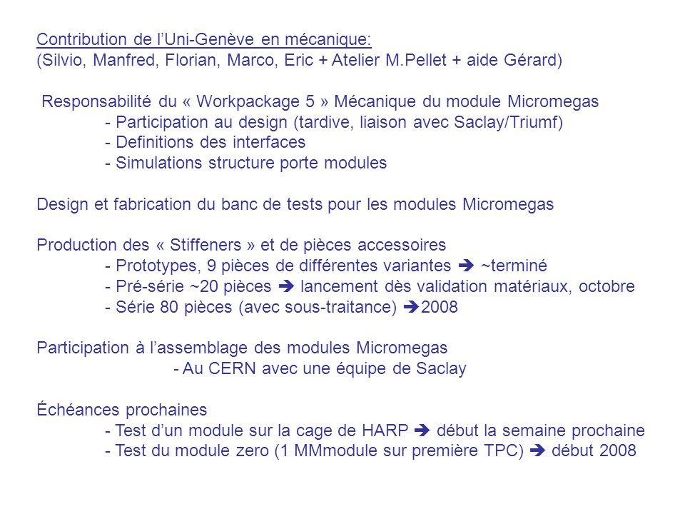 Contribution de l'Uni-Genève en mécanique: