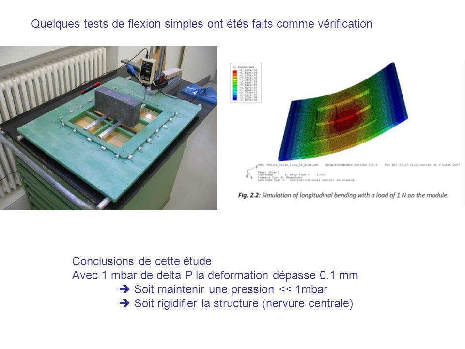 Quelques tests de flexion simples ont étés faits comme vérification