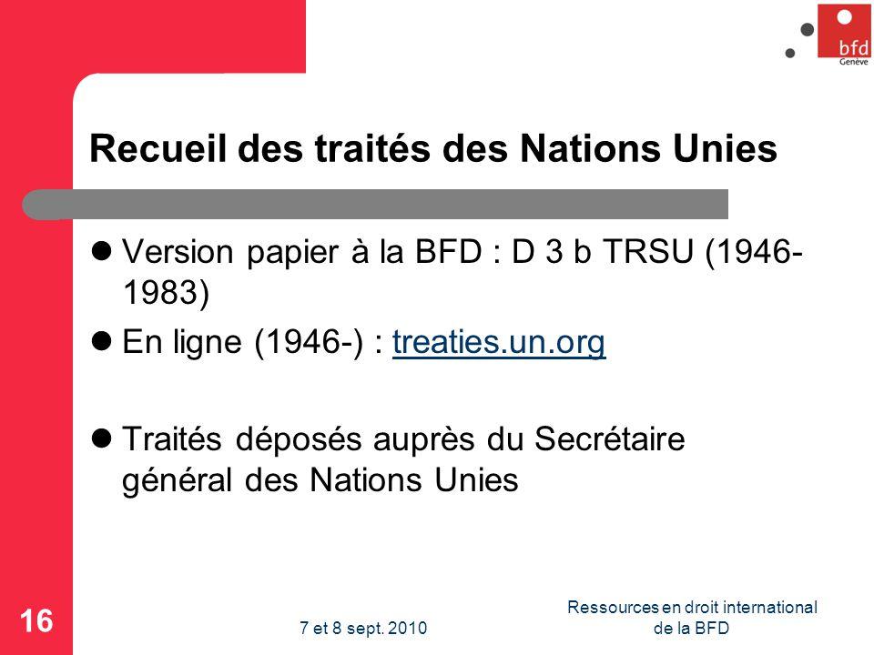 Recueil des traités des Nations Unies