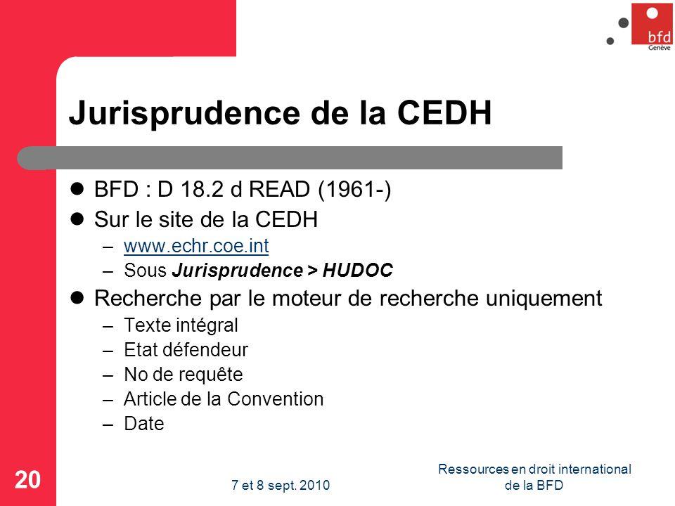 Jurisprudence de la CEDH