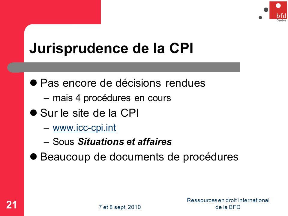 Jurisprudence de la CPI