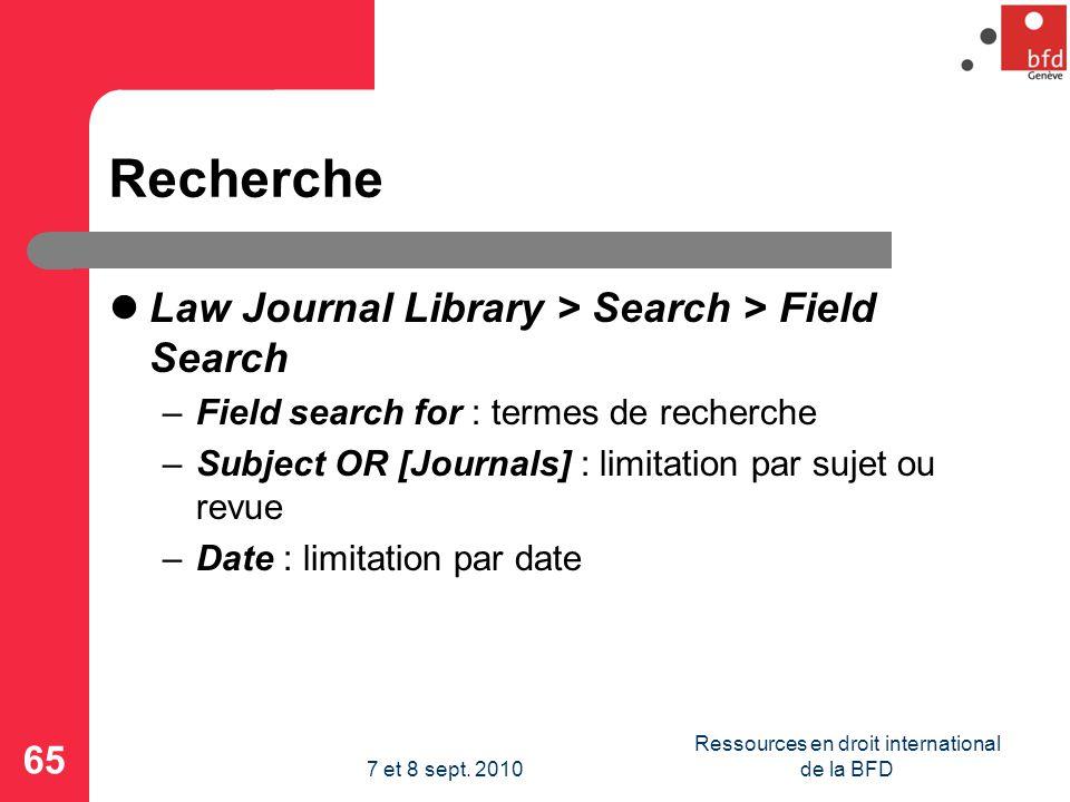 Ressources en droit international de la BFD
