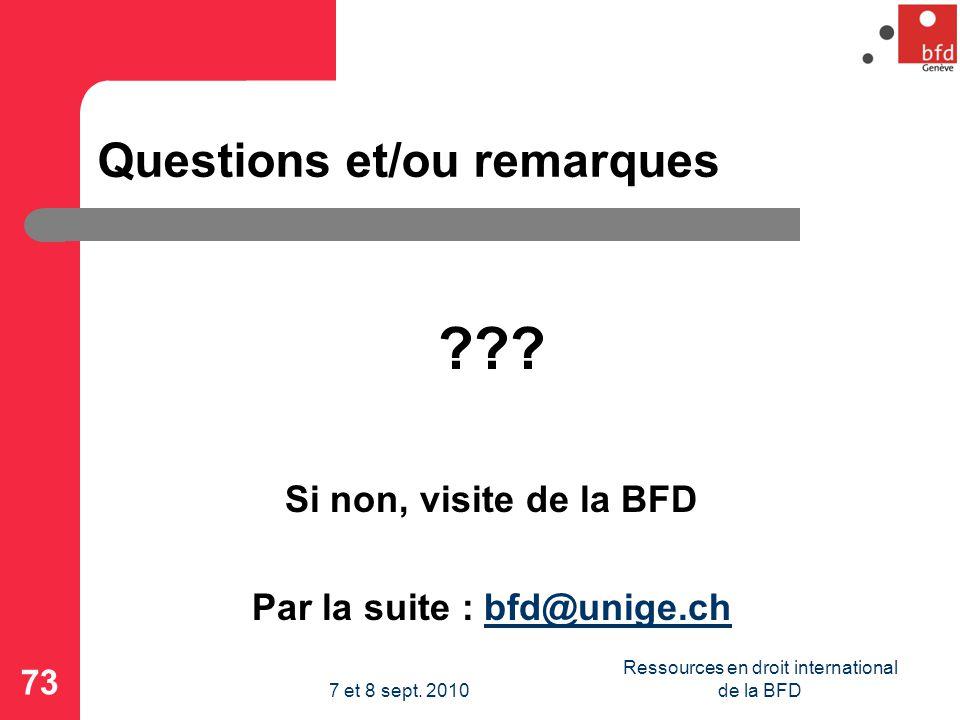 Questions et/ou remarques