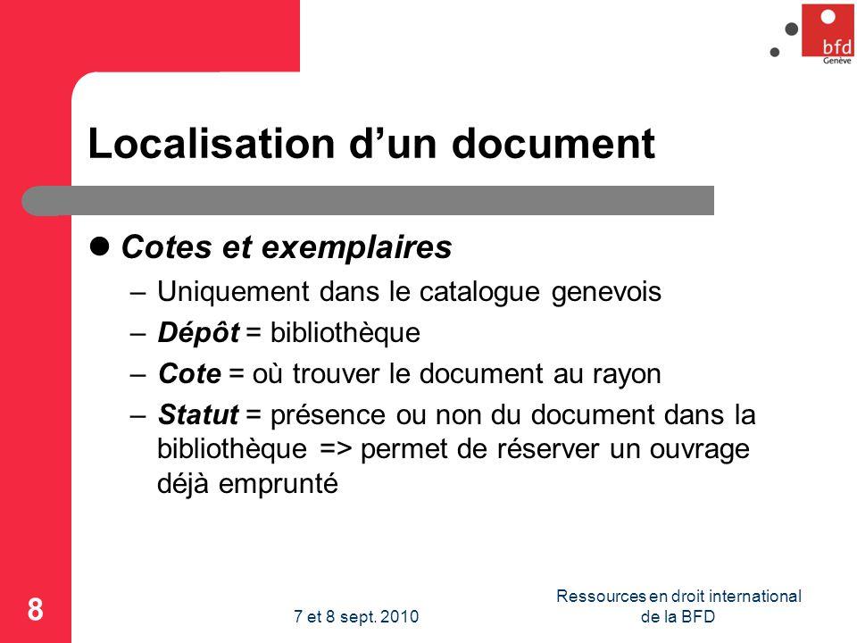 Localisation d'un document