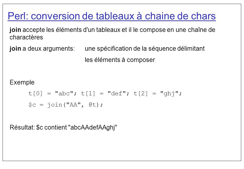 Perl: conversion de tableaux à chaine de chars