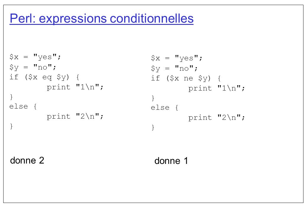 Perl: expressions conditionnelles