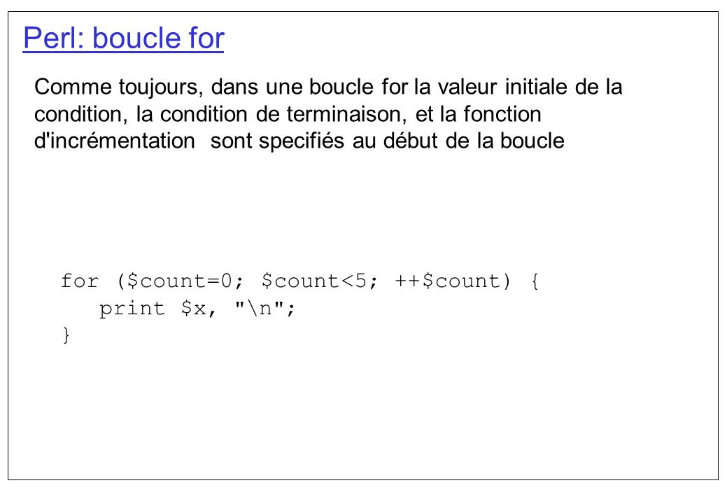Perl: boucle for