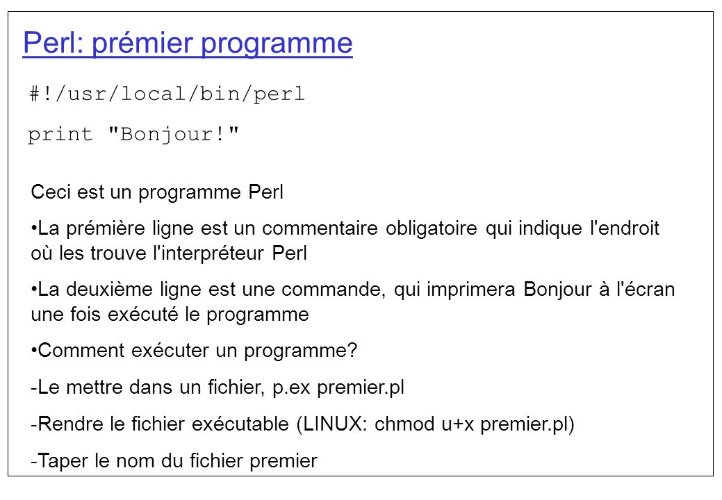 Perl: prémier programme