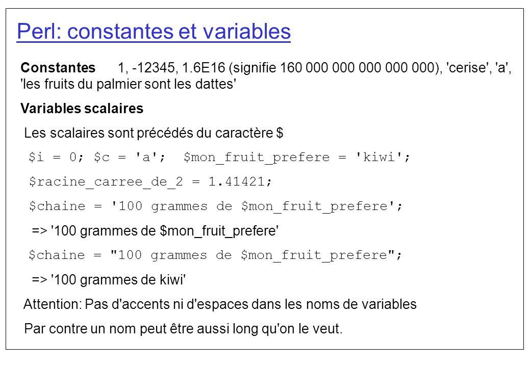 Perl: constantes et variables