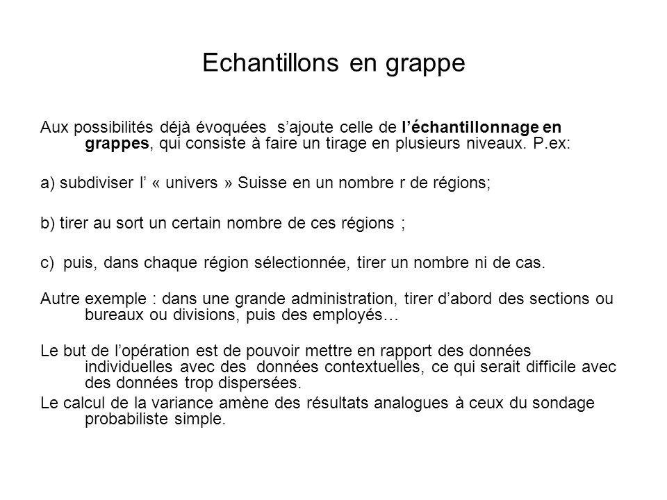 Echantillons en grappe