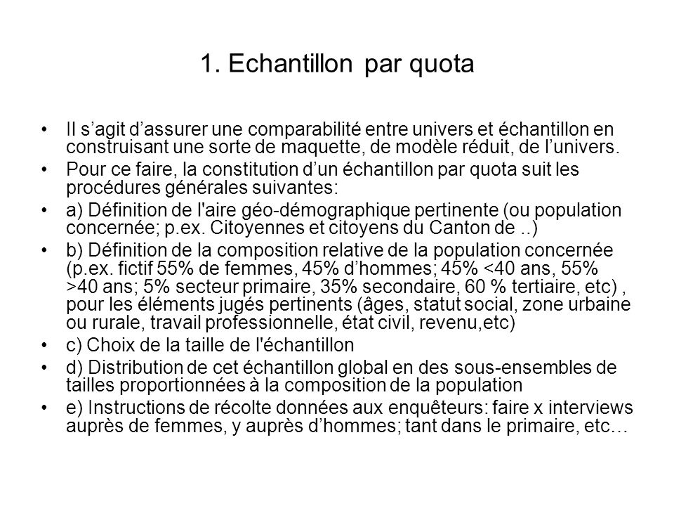 1. Echantillon par quota