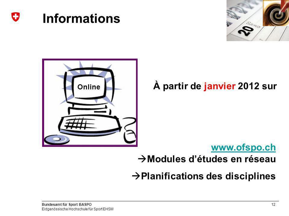 Informations À partir de janvier 2012 sur