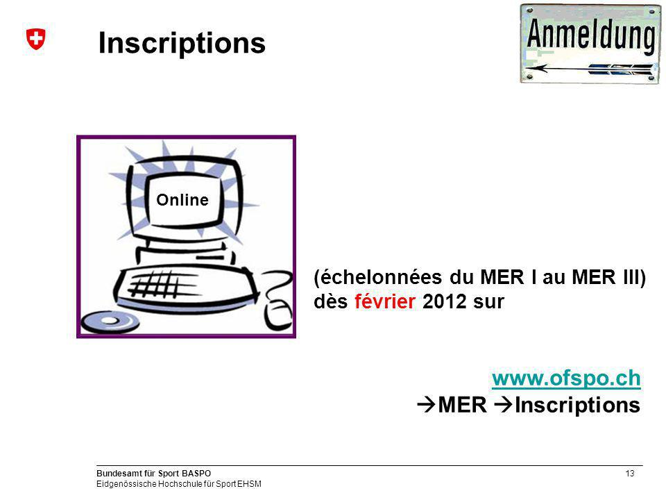 Inscriptions www.ofspo.ch MER Inscriptions