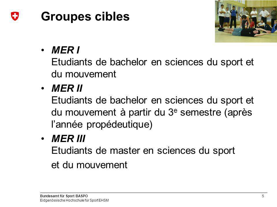 Groupes cibles MER I Etudiants de bachelor en sciences du sport et du mouvement.