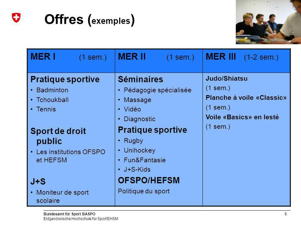 Offres (exemples) MER I (1 sem.) MER II (1 sem.) MER III (1-2 sem.)