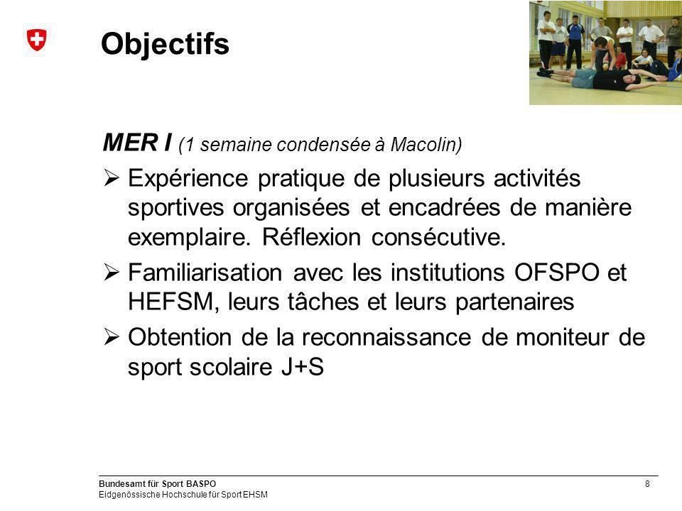 Objectifs MER I (1 semaine condensée à Macolin)