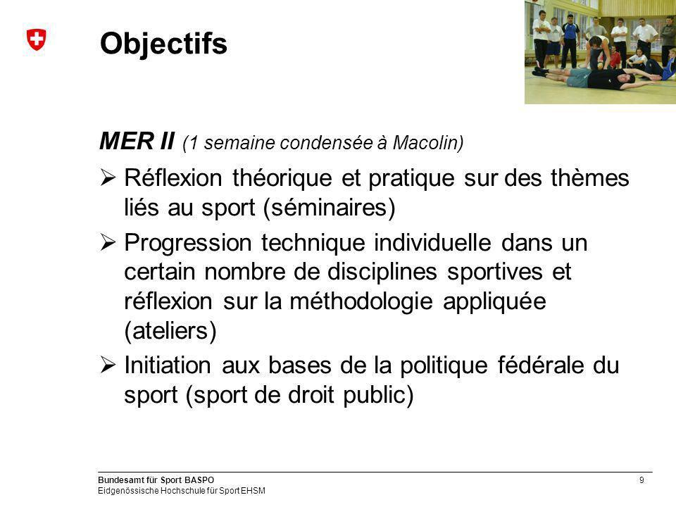 Objectifs MER II (1 semaine condensée à Macolin)