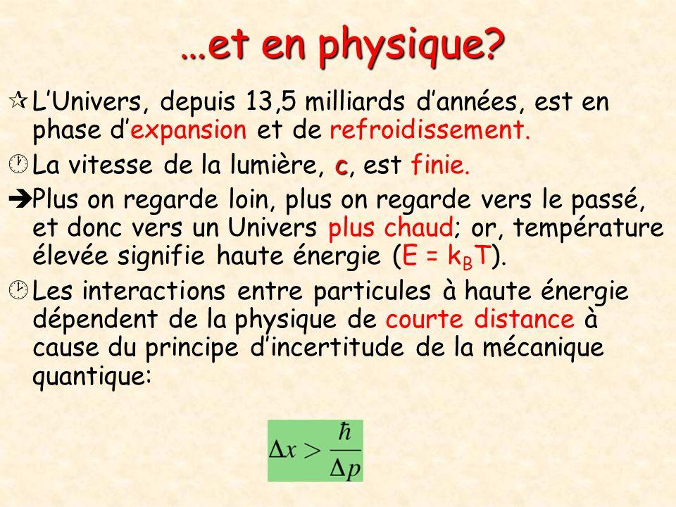…et en physique L'Univers, depuis 13,5 milliards d'années, est en phase d'expansion et de refroidissement.