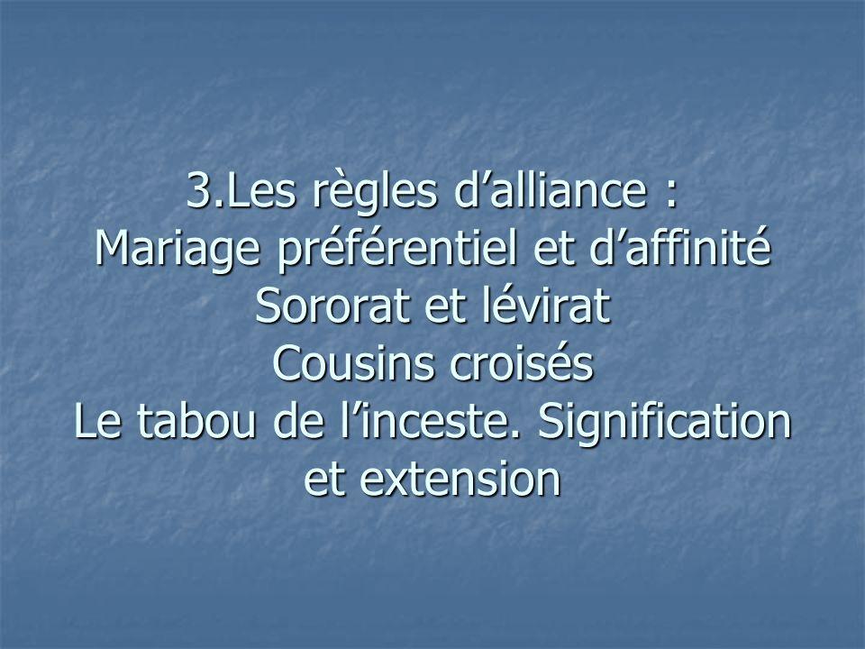 3.Les règles d'alliance : Mariage préférentiel et d'affinité Sororat et lévirat Cousins croisés Le tabou de l'inceste.