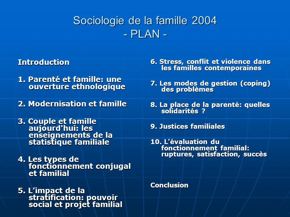 Sociologie de la famille 2004 - PLAN -