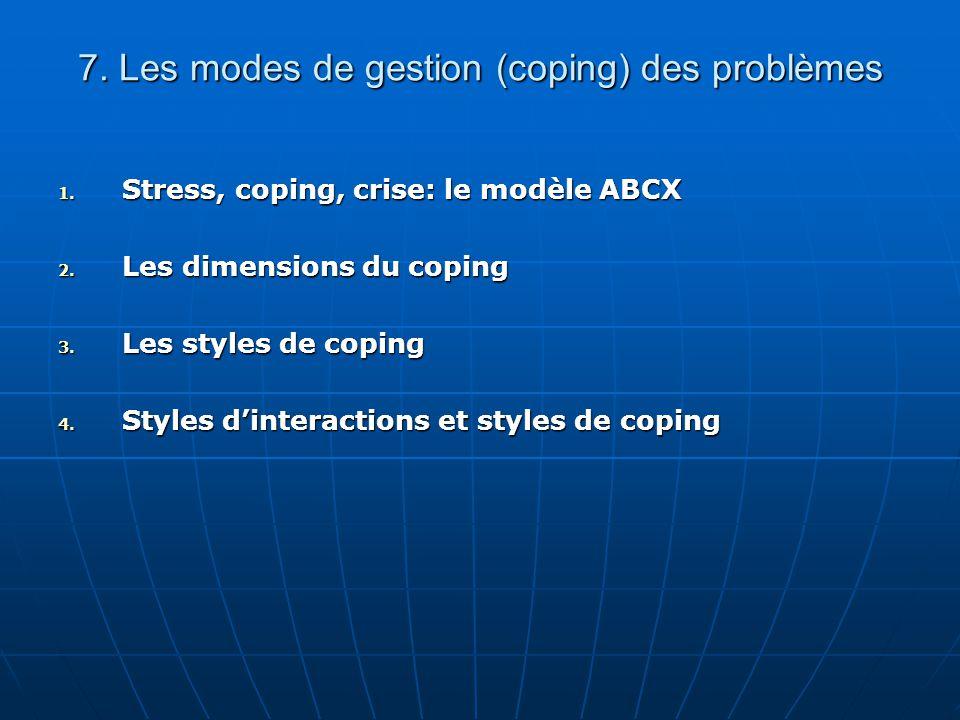 7. Les modes de gestion (coping) des problèmes