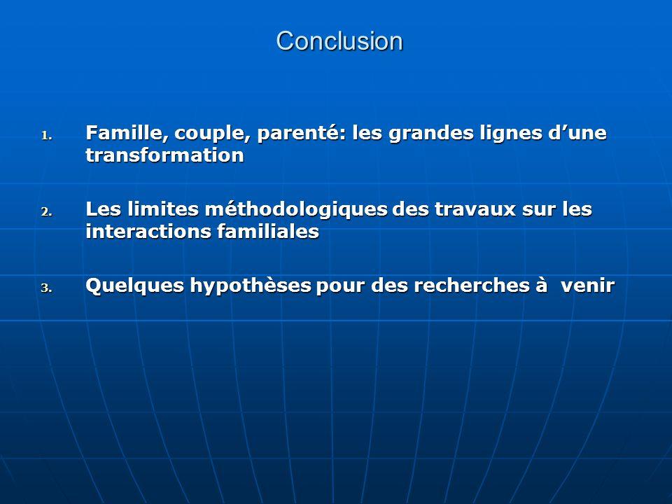 Conclusion Famille, couple, parenté: les grandes lignes d'une transformation.
