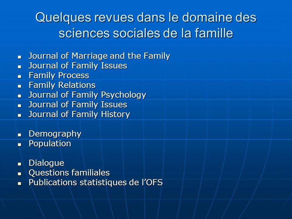 Quelques revues dans le domaine des sciences sociales de la famille
