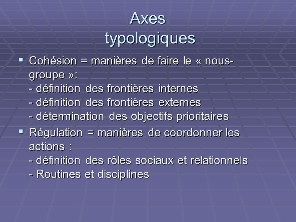 Axes typologiques