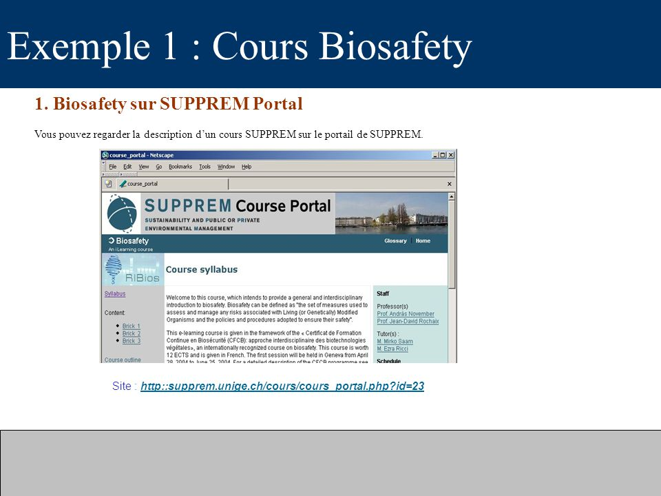 Exemple 1 : Cours Biosafety