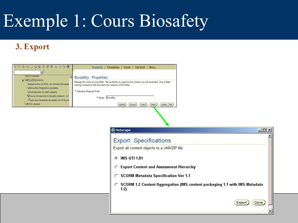 Exemple 1: Cours Biosafety