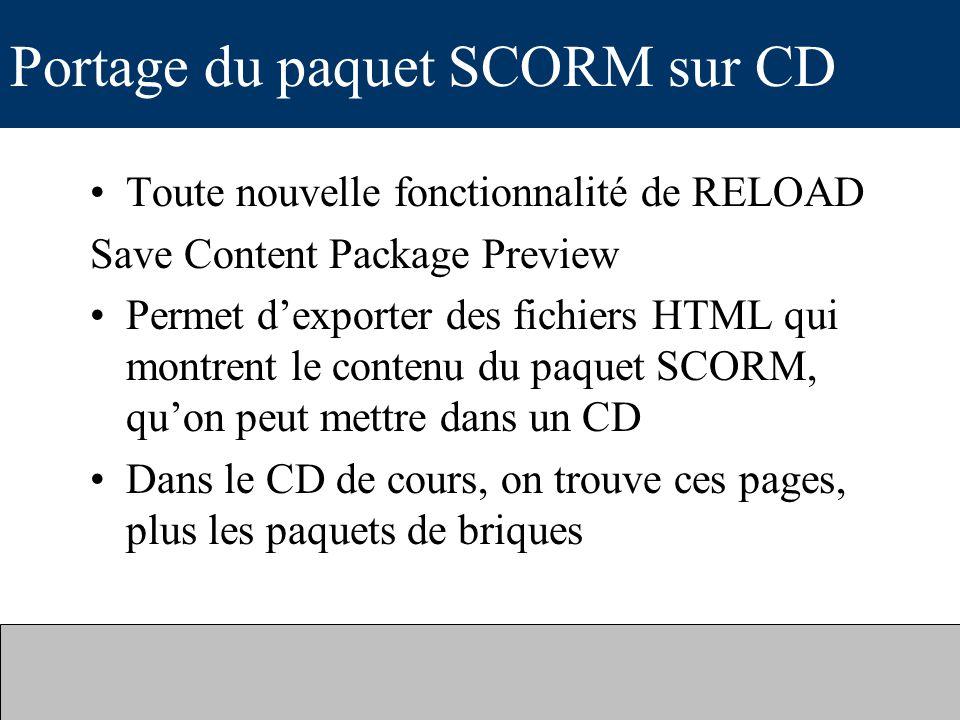 Portage du paquet SCORM sur CD