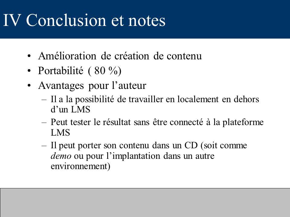 IV Conclusion et notes Amélioration de création de contenu
