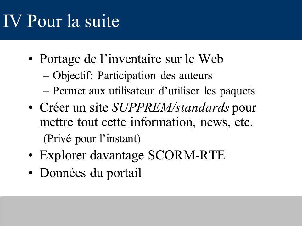 IV Pour la suite Portage de l'inventaire sur le Web