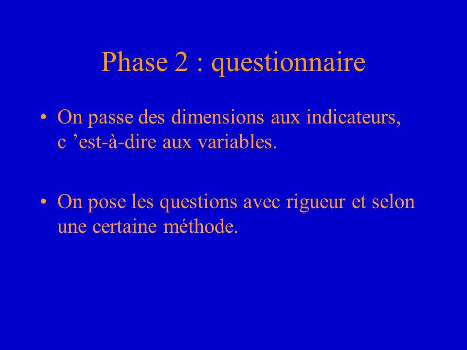 Phase 2 : questionnaire On passe des dimensions aux indicateurs, c 'est-à-dire aux variables.