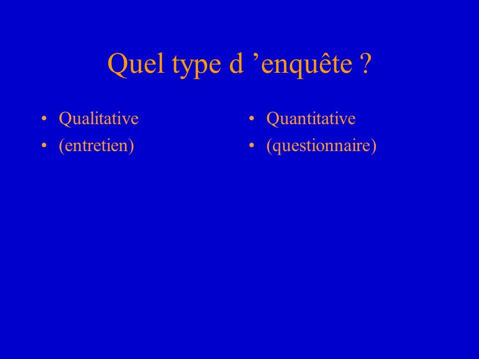 Quel type d 'enquête Qualitative (entretien) Quantitative