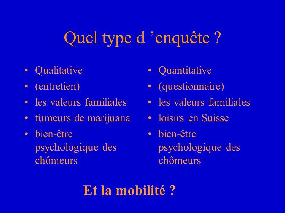 Quel type d 'enquête Et la mobilité Qualitative (entretien)
